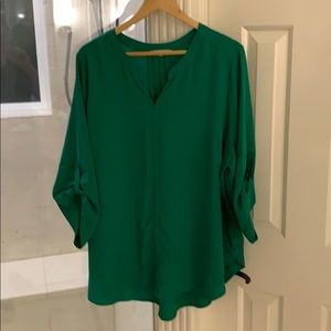 Stitch Fix 41 Hawthorn Green V-Neck Blouse 3X